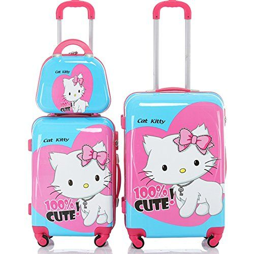 """Amazon.com: Sanrio Hello Kitty Spinner Universal Rolling Wheel Suitcase Luggage 2 pieces [12""""+20""""]: Clothing"""