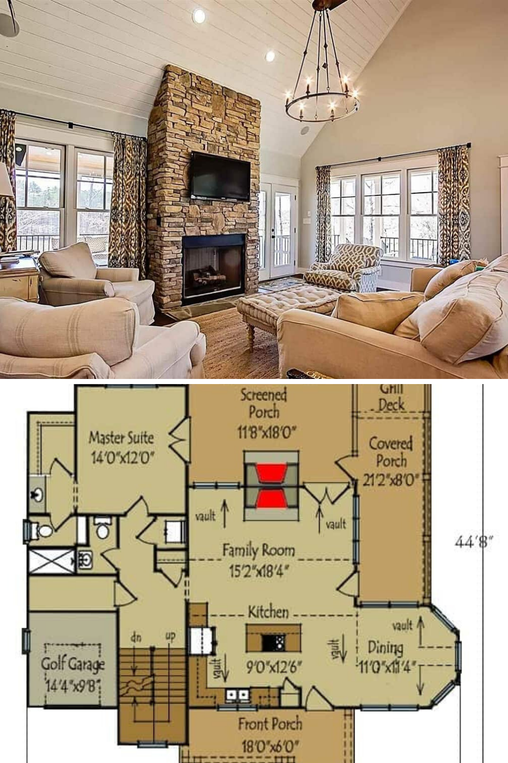 5 Bedroom Rustic 2 Story Mountain Home With Vaulted Ceilings Floor Plan Vaulted Ceiling Living Room Porch House Plans Mansion Floor Plan
