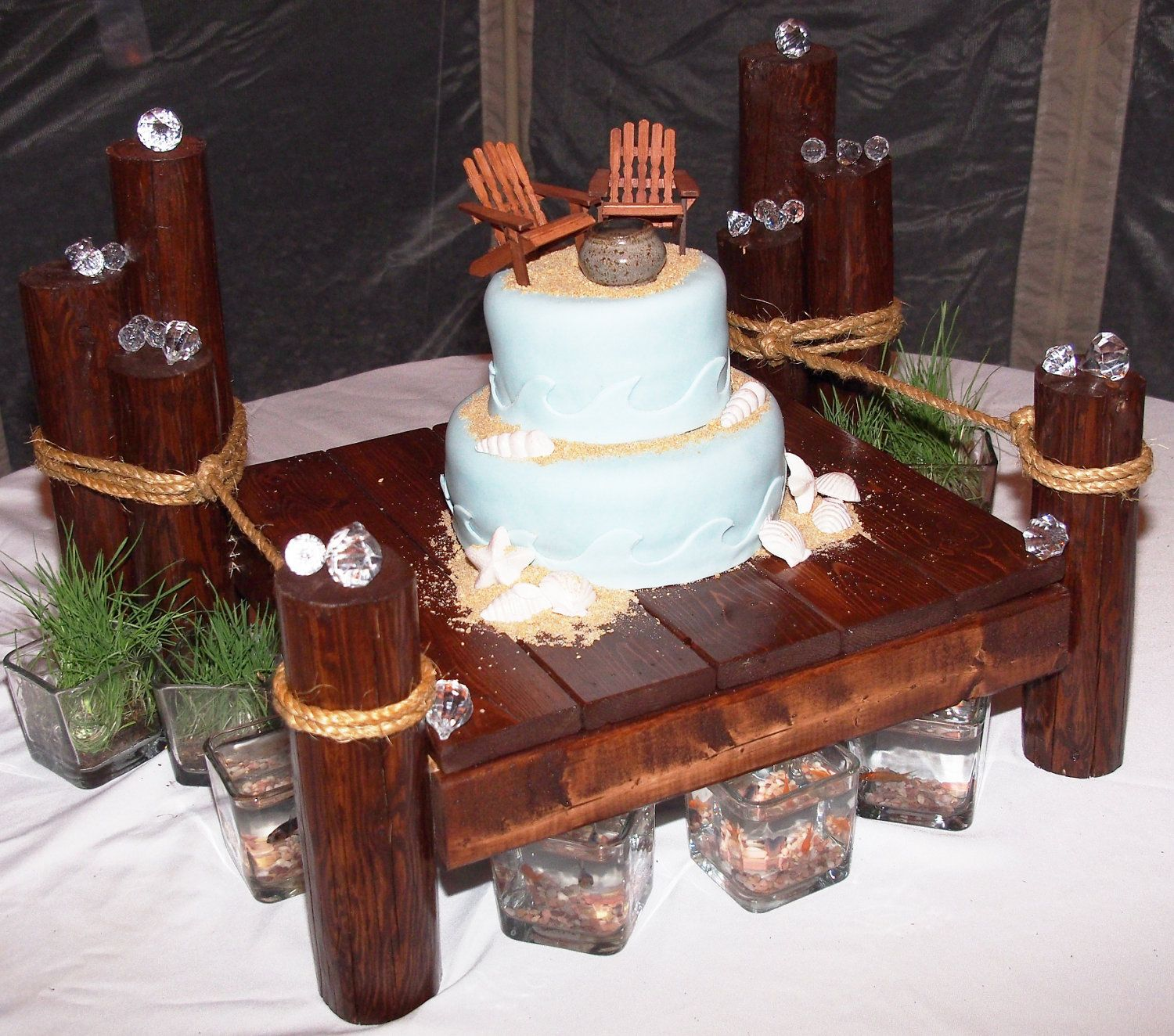 Pier style cake stand for nautical beach boat and lake theme