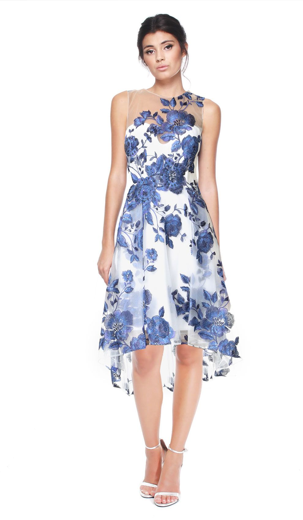 Floral Embroidered Cocktail Dress Hire - Marchesa Notte - Front ...