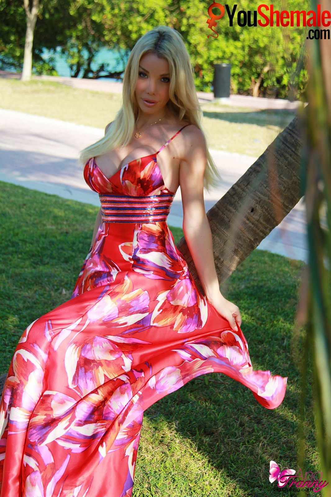 Leggy Beauty Meggie Takes off Her Bright Red Dress and