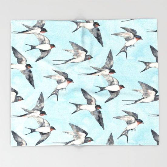 Throw blanket. A pattern created from hand drawn and painted watercolor illustrations of sweet barn swallows in flight. ☺<br/> <br/> illustration, watercolor, painting, bird...