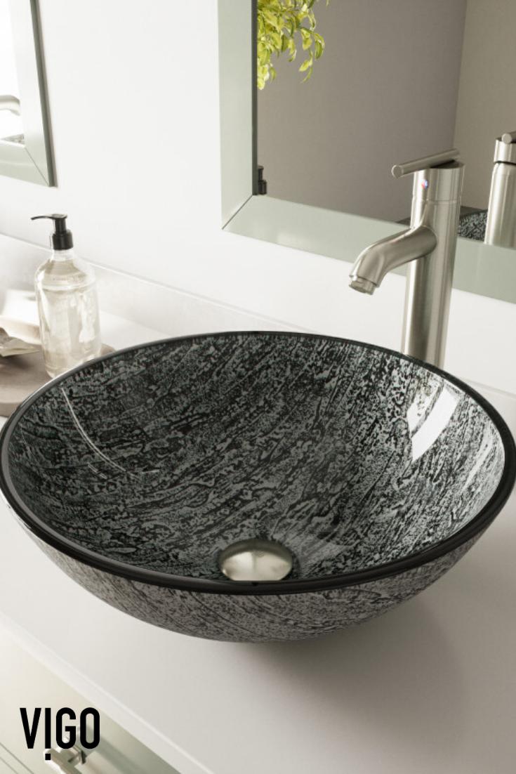 Vigo Titanium Glass Vessel Bathroom Sink In 2020 Glass Vessel Sink Glass Vessel Sinks