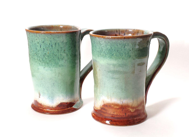 Pair of Tall Pottery Mugs,Beer Steins,Green Beer Mugs,Tall