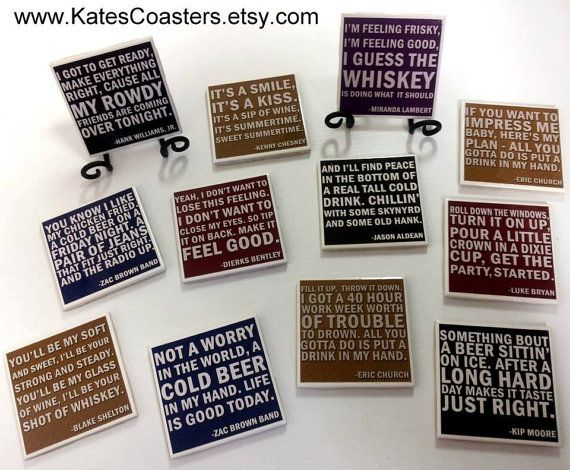 Set Of 4 Mix And Match Country Quotes Ceramic Coasters By