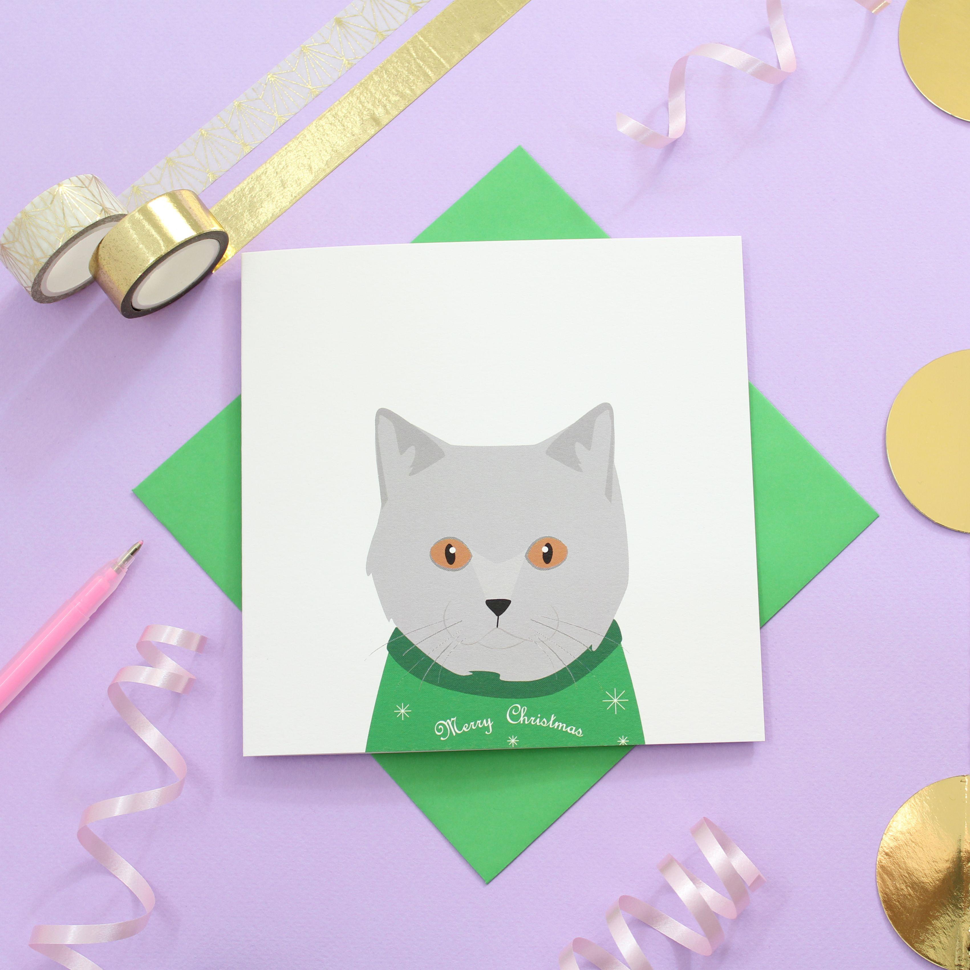 Christmas British Shorthair Cat Card