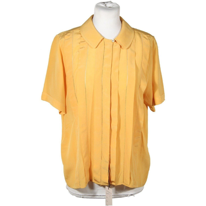 f688c49016b8b SPIGA 31 VINTAGE Yellow Silk SHORT SLEEVE SHIRT Pintuck Blouse Sz 40 ...