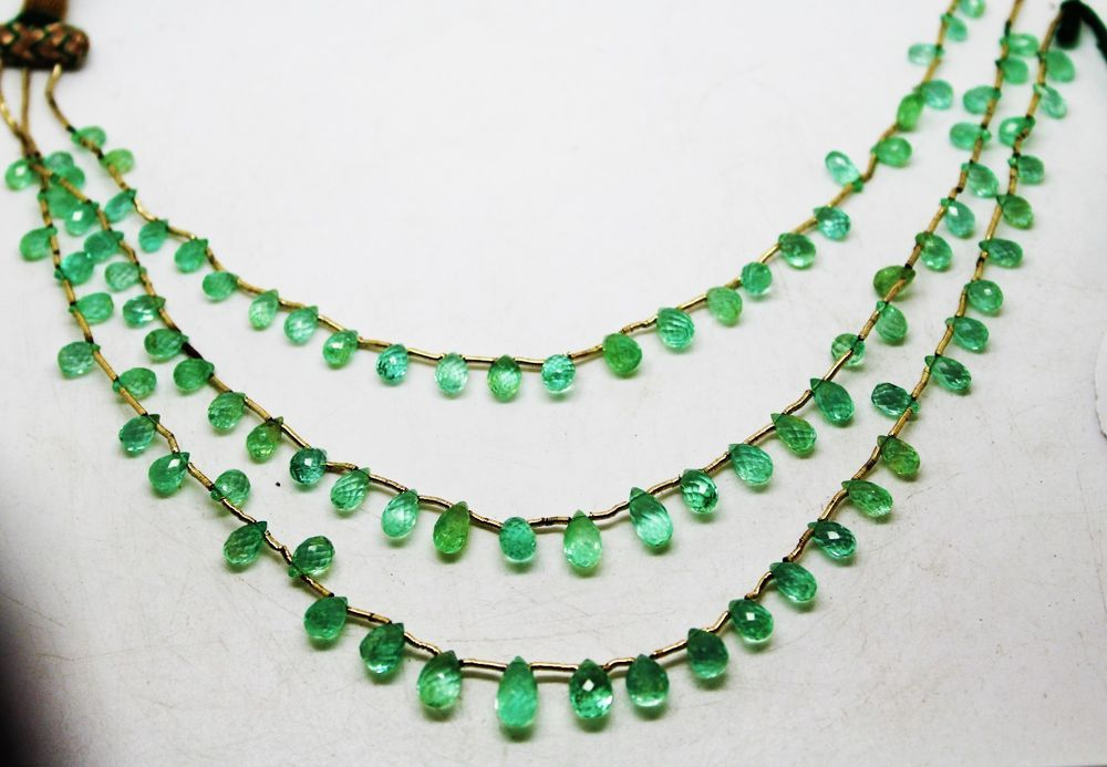 78.86 Ct Fine Natural Emerald Columbian Drops Necklace UnTreated Loose Gemstone #RareGemIN