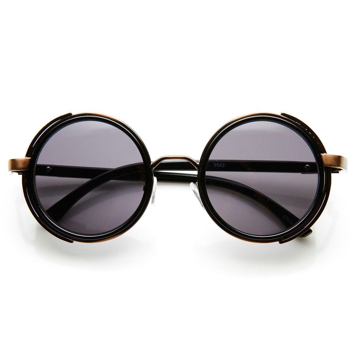 da3f5d45931 Studio Cover Faux Leather Side Shield Steampunk Round Sunglasses ...