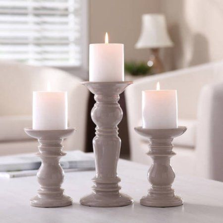 Better homes and gardens ceramic pillar candle holders set of 3 walmart com