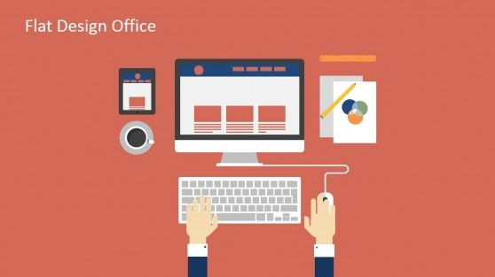 Flat design office powerpoint templates microsoft powerpoint 17 flat slide designs with a business man working in a computer workspace shapes toneelgroepblik Choice Image