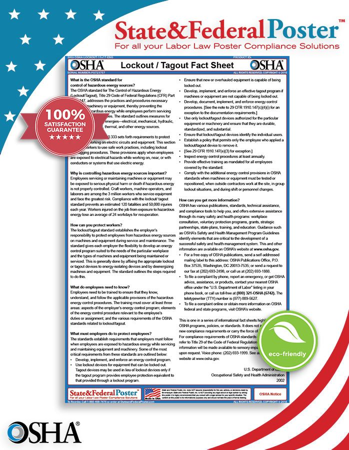 OSHA Lockout/Tagout Factsheet! This factsheet details the