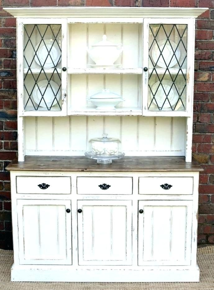 White Hutch Cabinet Kitchen Corner Regarding