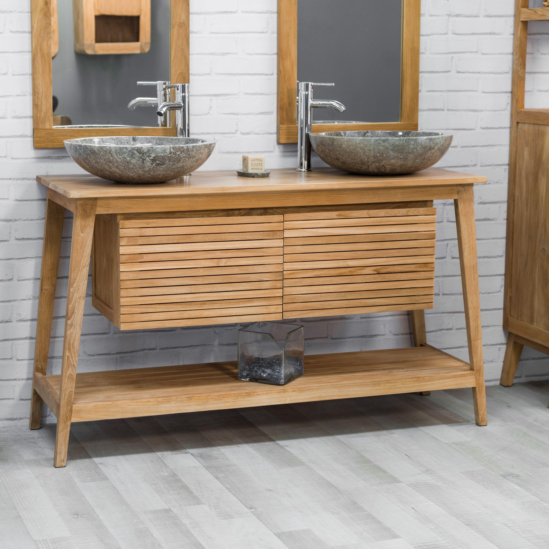 meuble en teck de salle de bain scandinave 140 - Salle De Bain Nordique