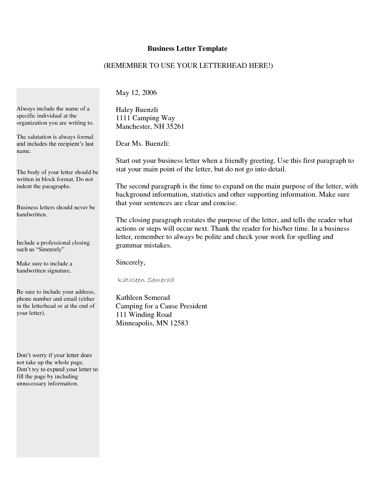 Tips How Write The Professional Business Letter Template