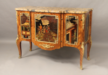 An Interesting Late 19th Century Louis XV Style Gilt Bronze Mounted Coromandel Chinoiserie Commode