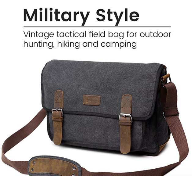 ee3ae1f9414d Canvas Messenger Shoulder Bag For Men, Berchirly 14 inch Laptop Bag ...