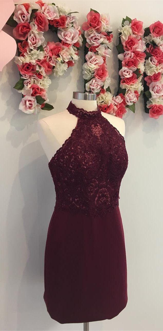 Burgundy prom dresses party dresses halter tight short burgundy