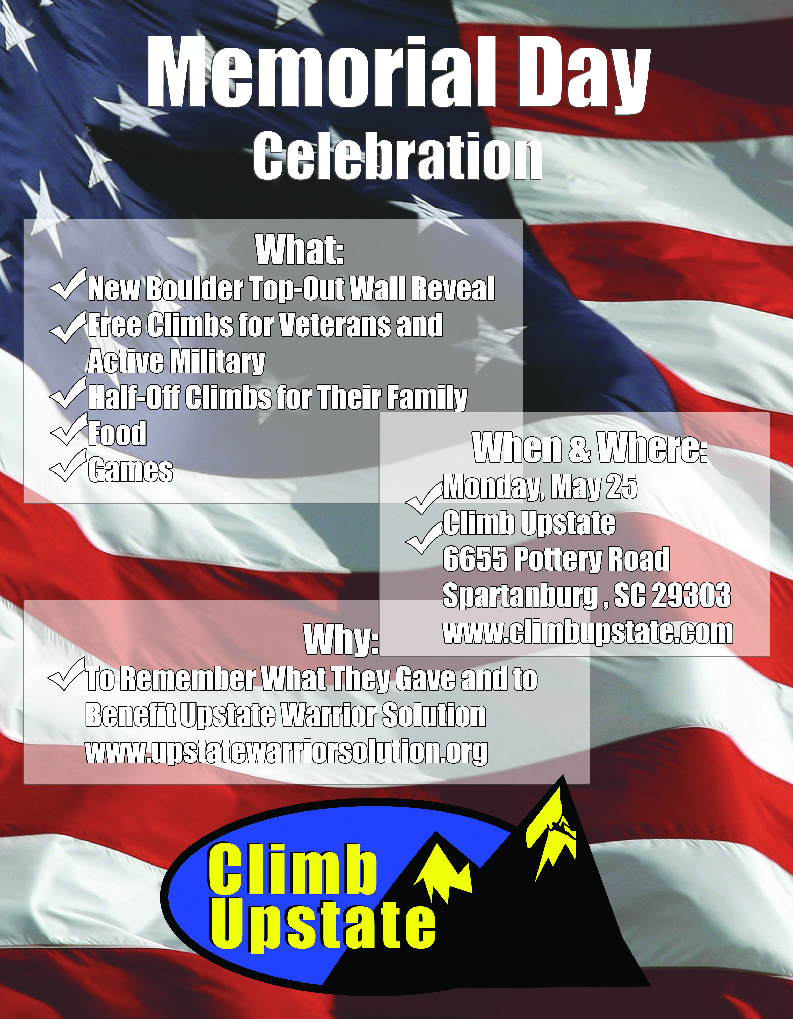 #memorial #day #2015 #celebration #fundraisers #climbing #upstate #sc
