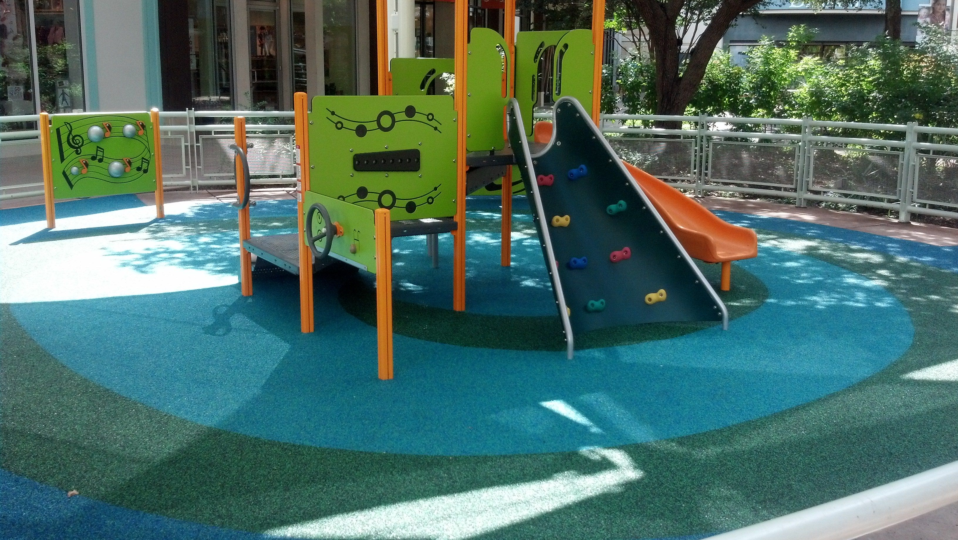 No Fault Installed Our Rubber Surfacing For The Playground Area At The Shops  At La Cantera In San Antonio, TX. They Wanted A Safe, Yet Fun Looking, ...
