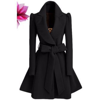 3dc62bbf5365 Mujer Abrigo de lana Chaqueta de estilo elegante de color Negro( con ...