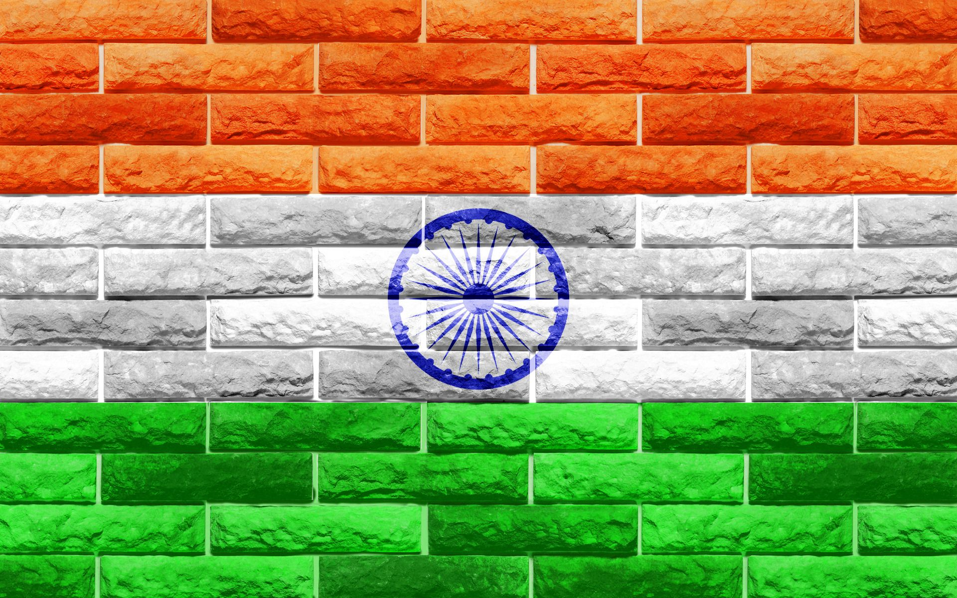 Flags of Countries Three Colors as Flags of India Symbol Brick
