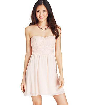 Speechless Juniors' Strapless Lace-Panel Dress - Juniors Dresses - Macy's