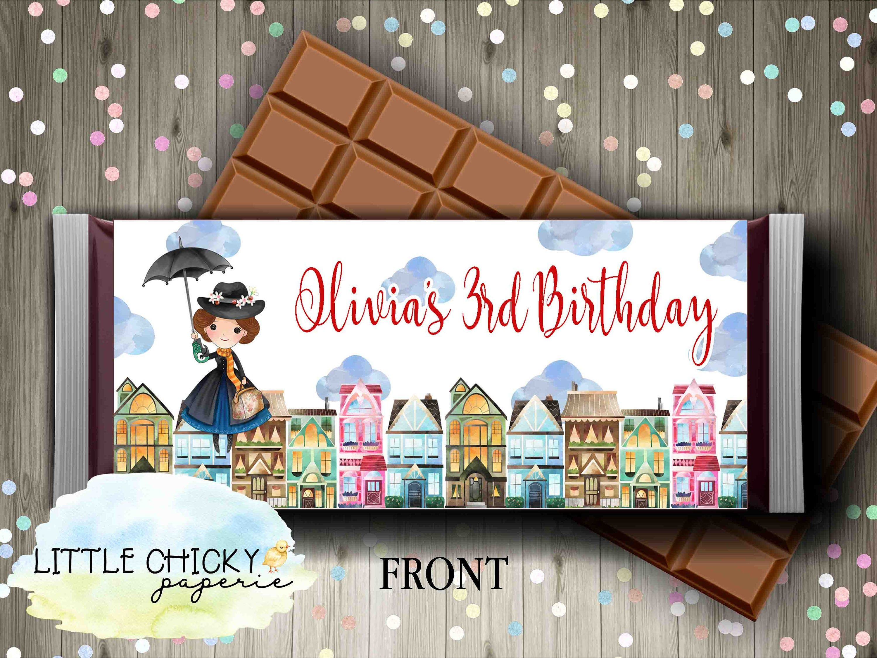 Mary Poppins Chocolate Bar Wrapper for a Birthday Party, Birthday Party Favor, Candy Table, Printable Candy Bar Wrapper