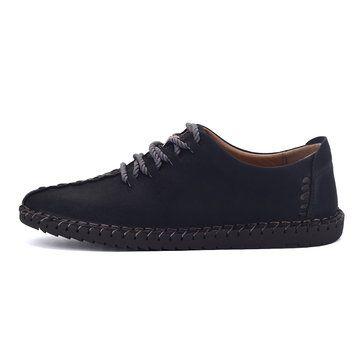 Zapatos retros planos estilo británico con puntadas de cap-toe y plantilla blanda para hombres