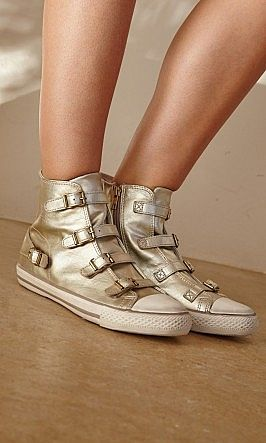Pale Gold Trainers - pale gold leather trainers with rubber toe cap and sole. 4 slim straps with brass buckles across front.