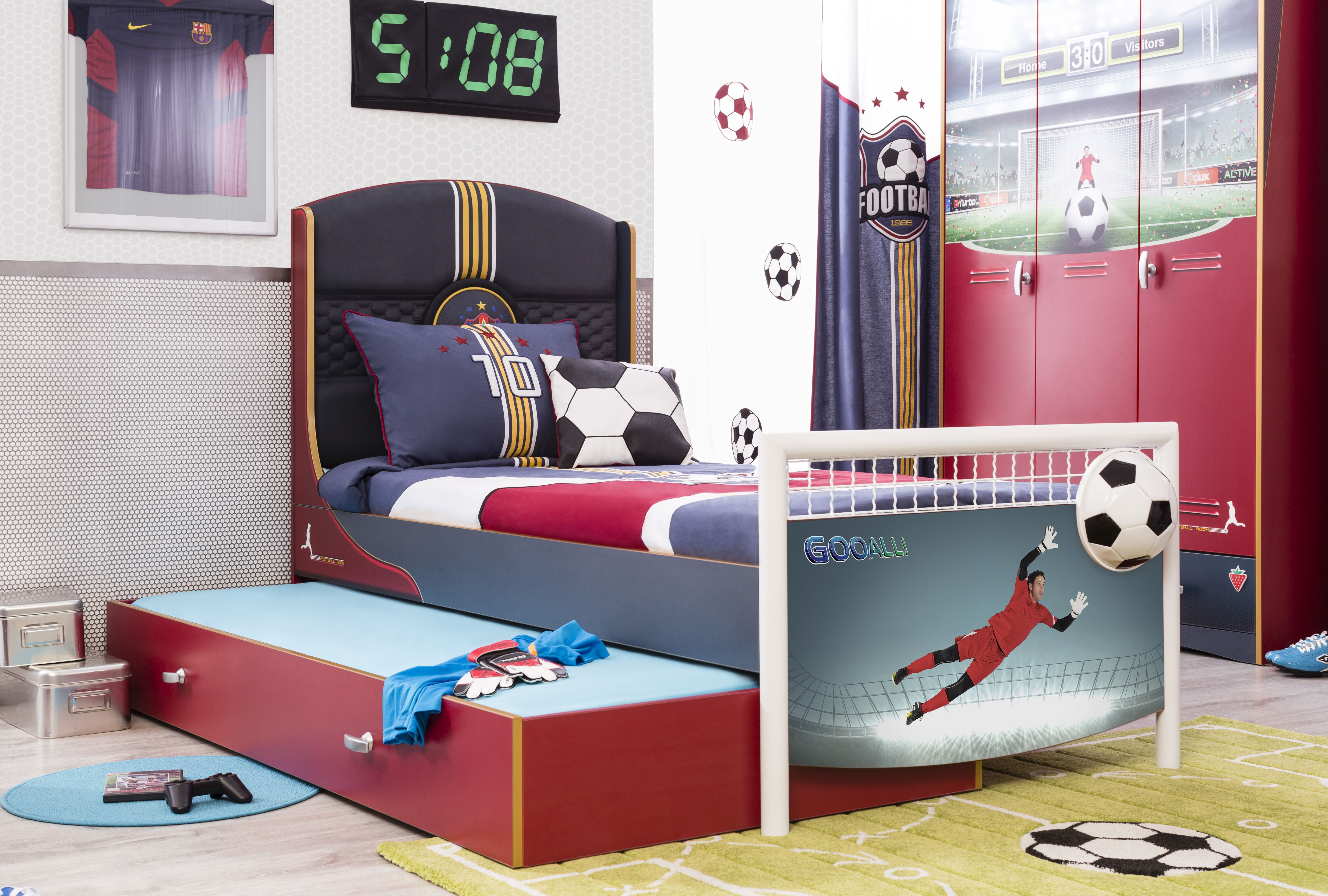 Childrens Beds With Pull Out Bed Underneath Pull Out Bed In Football Series For Young Children Cilek Room