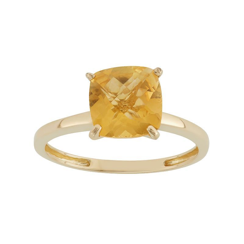 Citrine 10k Gold Ring Women S Size 7 Orange 10k Gold Ring Gold Cushions Citrine Ring