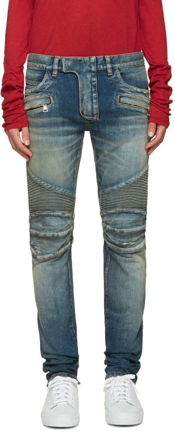 88c823e535ed96 Balmain - Blue Distressed Biker Jeans | Grown Men fashion in 2019 ...