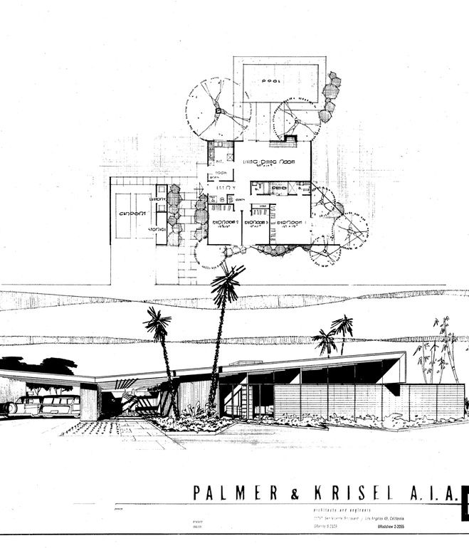 Twin Palms Plans And Elevation Drawings By William Krisel Retro