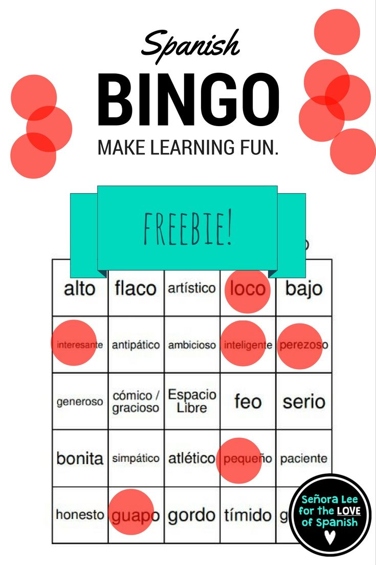 Free for a limited time! 40 bingo cards to practice 24 Spanish ...