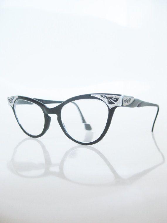 eb3480adaaa Vintage 1950s Cat Eye Eyeglasses Black Silver Aluminum Flair USA American 50s  Fifties Rockabilly Lolita Midnight Ebony Mod Classic