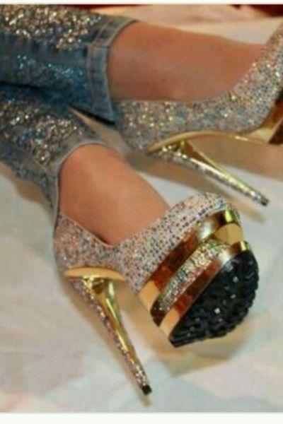 heiße Angebote bester Platz Großhandelsverkauf Glitzer High heels | Glitzer und Bling Bling | Heels, Prom ...