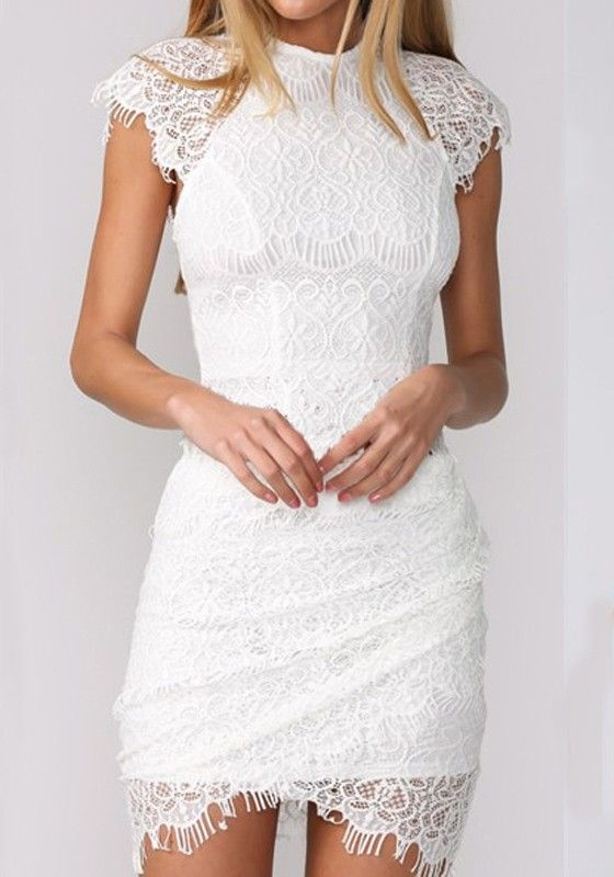 f7b8de1dc439 White Plain Wavy Edge Lace Dress - Mini Dresses - Dresses ...