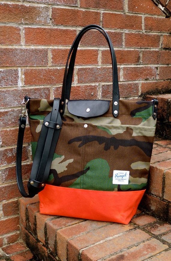 Waxed Canvas Tote Bag with Leather Handles Shoulder Strap Closure - Large  Camo   Orange Color Blocked Tote ea3d23bef7