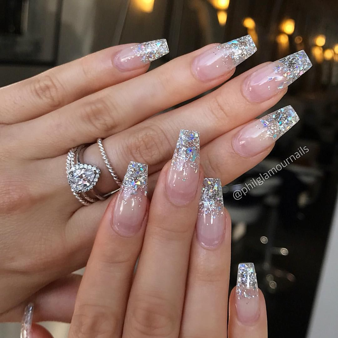 P H I L L I P On Instagram Glitternails Sparklenails Nailsofinstagram Naildesigns For The Clear Glitter Nails Glitter Nails Acrylic Coffin Nails Designs