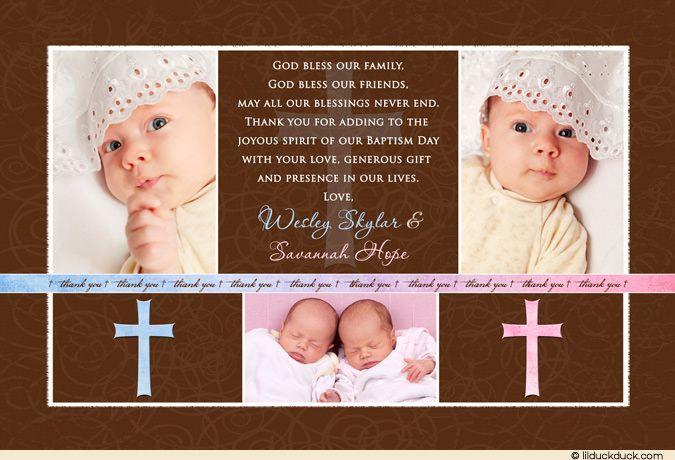 Twin Boy Girl Baptism Thank You Card Multiple Photos Party