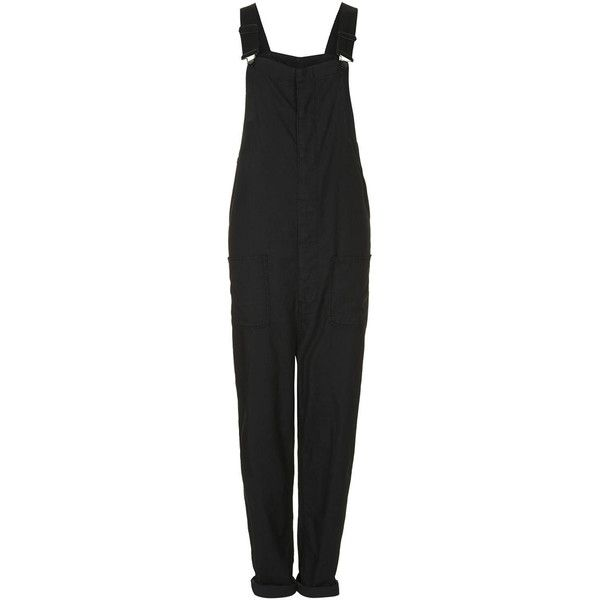 Lightweight Cotton Dungarees by Boutique ($29) ❤ liked on Polyvore featuring jumpsuits, playsuit, bottoms, black, jumpsuits & rompers, jump suit, playsuit jumpsuit, black jumpsuit and black cotton jumpsuit