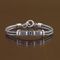 Gold plated amethyst bracelet, 'Desire'
