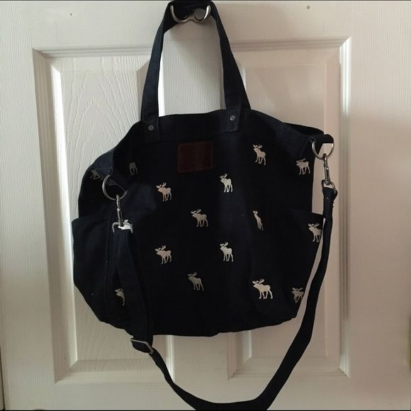 Abercrombie Tote Bag Navy Blue Canvas With