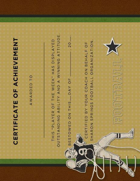 Vintage Football Award Certificate designed by Roxanne Buchholz - award paper template