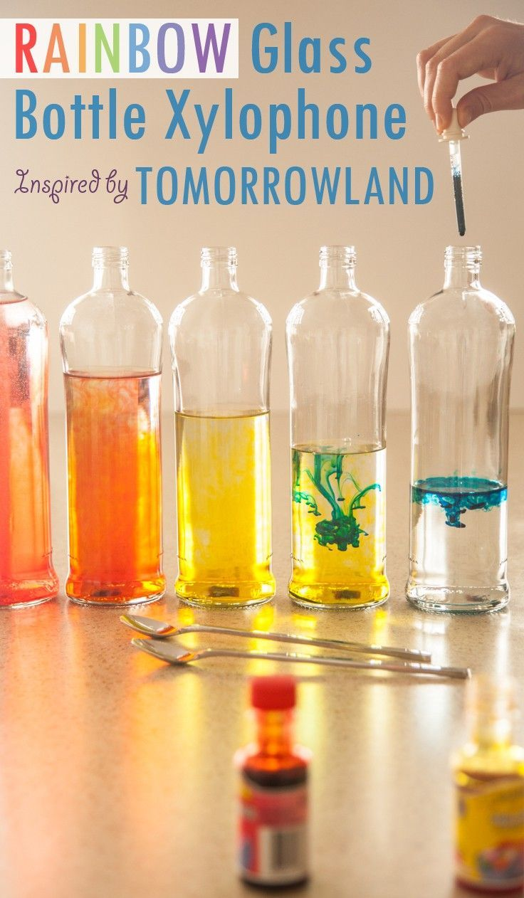 Make a DIY Rainbow Glass Bottle Xylophone! A simple and colorful learning activity to inspire your little dreamer to become a musician! Craft inspiration from Disney's Tomorrowland film.