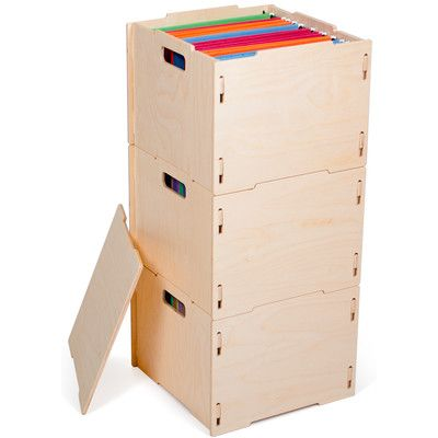 Sprout 3 Modern Wood Hanging File Box Finish: