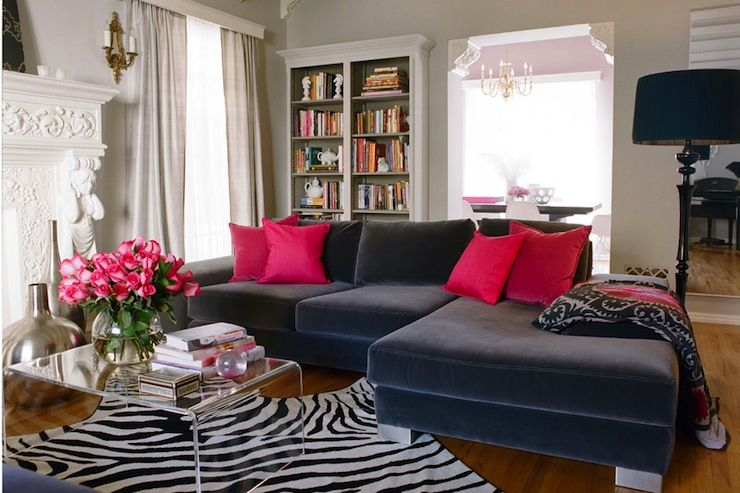 Comfy Family Room By Kishani Perera With Blue Velvet Sectional Sofa Home Living Room Designs Home Decor