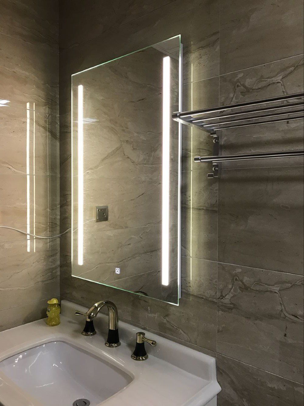 Diyhd W36 X H36 Wall Mount Led Backlit Lighted Bathroom Mirror Vanity Defogger 2 Vertical Lights Rectangular Touch Light You Can Find Out More