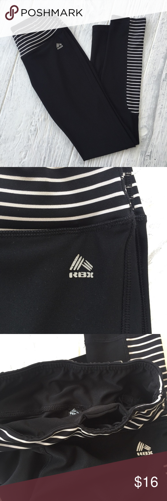 RBX Athletic Leggings RBX full length athletic legging, size small. Black with white stripe accents and small pocket inside the waistband. Slight cracking on RBX logo as shown in photo. Excellent used condition, no piling. RBX Pants